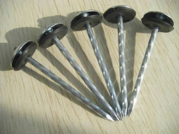 Roofing nails with umbrella shaped head, spiral shank and rubber washer